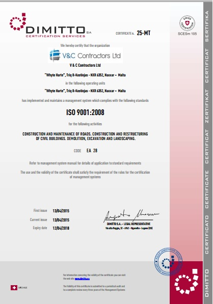 V & C Contractors awarded the prestigious ISO 9001:2008 certification